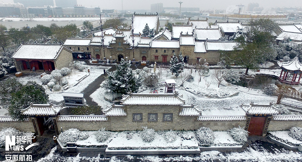 新华网独家航拍亳州花戏楼雪后美景